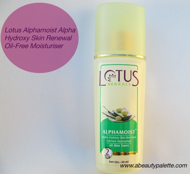 Lotus Herbals Alphamoist Alpha Hydroxy Skin Renewal Oil-Free Moisturiser Review