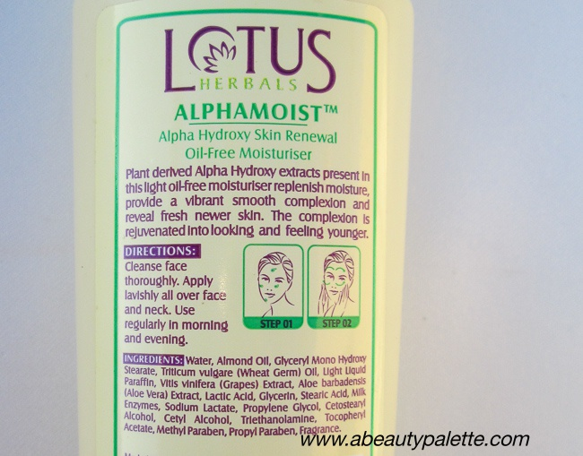 Lotus Herbals Alphamoist Alpha Hydroxy Skin Renewal Oil-Free Moisturiser Review3