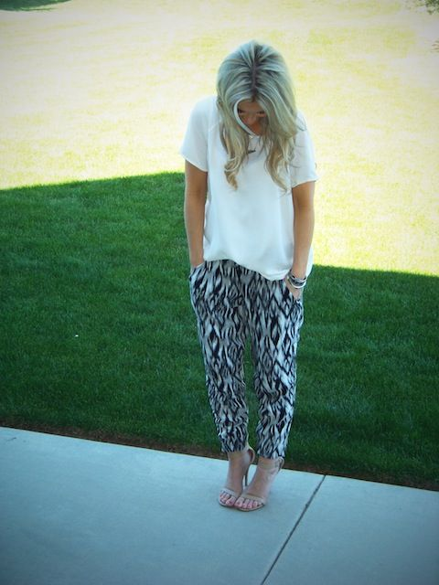 2 loose white tee with printed harem pants