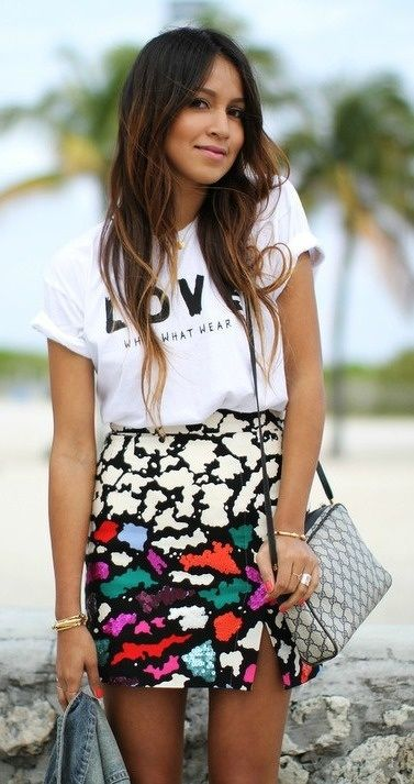 Tee with a girly skirt- indian fashion blog