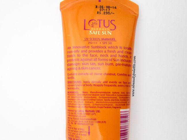 Lotus Herbals Matte Gel SPF 50-