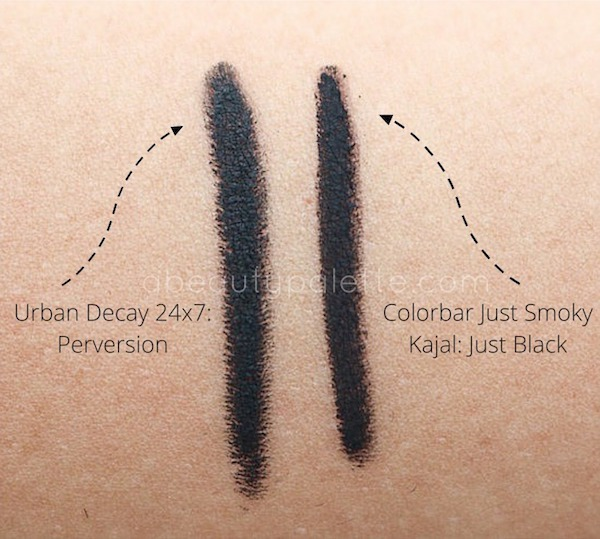 Colorbar Just Smoky Kajal Urban Decay Perversion Swatch