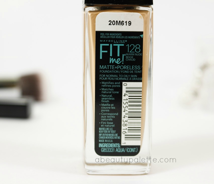 Maybelline Fit Me Matte & Poreless Foundation shade for nc30