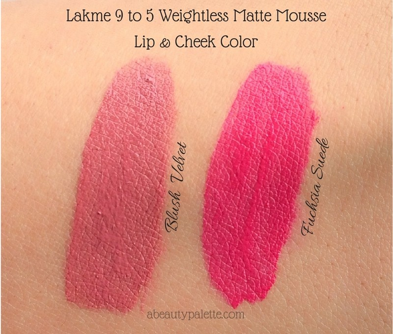 Lakme 9 to 5 Weightless Matte Mousse Lip & Cheek Colors- Blush Velvet, Fuchsia Suede